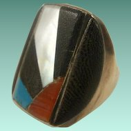 """Vintage Sterling Inlay """"Sun Rays"""" Men's Ring"""