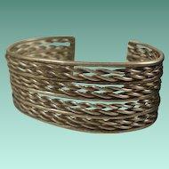 Wide Vintage Silver Twisted Rope Cuff Bracelet