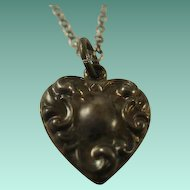 Victorian Era Puffy Repousse Heart Charm