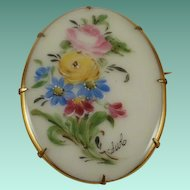 Very Large Artist Signed  Hand Painted Porcelain Brooch