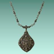 "Art Deco Era ""Sterling"" Marcasite Necklace"