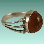Poland Hallmarked Sterling Amber Ring ~8