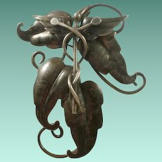 "Hand Wrought Sterling Marked ""OLIVIA"" Brooch"