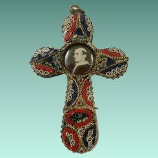 Micro Mosaic Papal Souvenir Cross -Paul VI