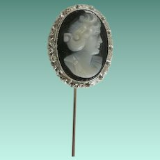 14k White Gold Hard Stone Cameo Stick Pin