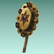 Victorian Era 15ct Etruscan Ruby Stick Pin