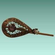 Victorian Era 10k  Amethyst Pearl Filigree Stick Pin