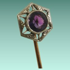 Edwardian Era 14k Amethyst Stick Pin
