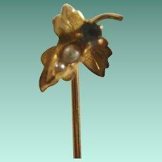 Victorian Era 10k Seed Pearl Stick Pin