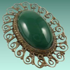 Sterling Mexico Green Onyx Pendant/Brooch