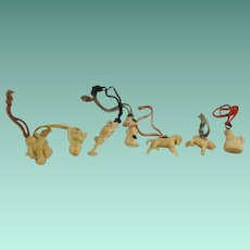 Collection of 6 Celluloid Figurative Gumball Toys