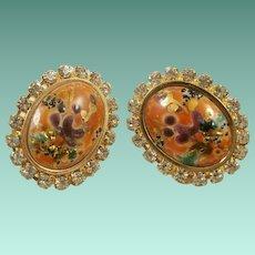 Stippled Enamel on Porcelain Rhinestone Earrings