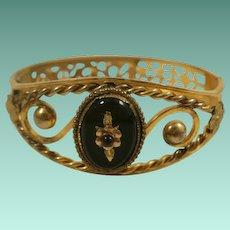 Vintage Gold Filled Jet Bangle Bracelet