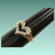 Gorgeous Vintage 14k Diamond Sweetheart Ring~ 6