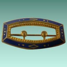 Victorian Era Brass Enamel Buckle Pin