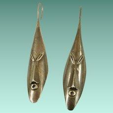 Handmade Sterling Elongated Face Earrings