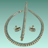 Vintage Channel St Square Cut Rhinestone Necklace Bracelet Earring Set