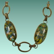 Art Deco Era Brass and Art Glass Necklace