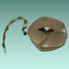 Art Deco Enamel Case with Wrist Chain