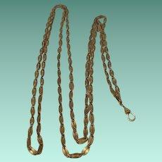 """Art Deco Era Gold Filled 52"""" Muff/Guard Chain"""