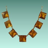 Art Deco Era Citrine Glass and Brass Necklace