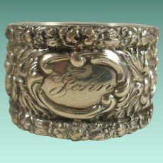 "Vintage Stieff Sterling Repousse Napkin Ring ""John"""