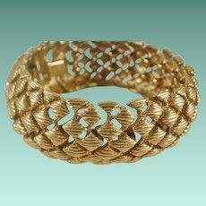 Vintage Monet Diamond Weave Gold Toned Bracelet