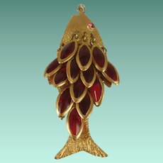 Large Jointed Open Backed Red Glass Drop Fish Pendant