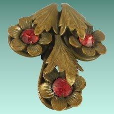 Vintage Brass and Glass Dress Clip