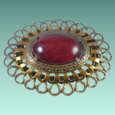 Large 1950's Brass & Copper Lucite Cabochon Brooch