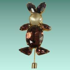 Vintage Purple Rhinestone Rabbit Stick Pin
