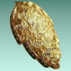 Unusual Long Napier Polished or Brushed Rhinestone Leaf Necklace