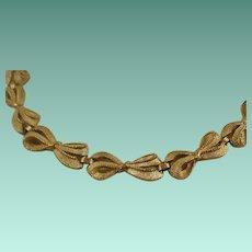 Vintage Trifari Brushed and Polished Bow Necklace
