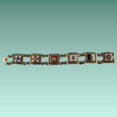 Gold Over Sterling Enamel Topazio Filigree Bracelet