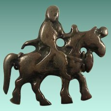 "Chinese Export Marked ""Silver LIU China"" Man on Horse Pin"