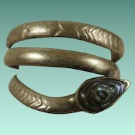 Vintage Mexico Coiled Silver & Abalone Snake Ring 6 1/2