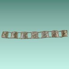 Van Lou Sterling Filigree Panel Bracelet
