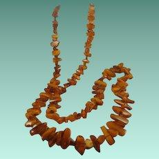 "Fabulous 48"" Large & Chunky Raw Amber Beads Necklace"