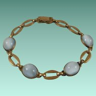 Retro Era Gold Filled Moon Glow Glass Cab Bracelet