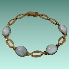 Retro Era Gold Filled Moon Glow Glass Cab Bracelet