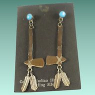 Long Sterling Turquoise Axe and Feather Drop Earrings