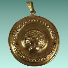 """Vintage """"Punched Out"""" Grotesque Face Pendant"""