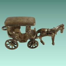 Very Large Danecraft Sterling Articulated Horse and Buggy Charm