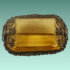 Brass and Amber Glass Unmarked Czech Pin