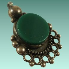 Vintage Sterling Mexico Green Onyx Pendant