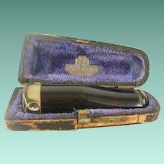 Cherry Amber Bakelite Cigar Holder in Case