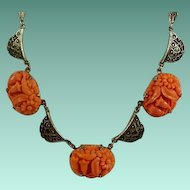 Art Deco Era Sterling Molded Coral Glass Necklace