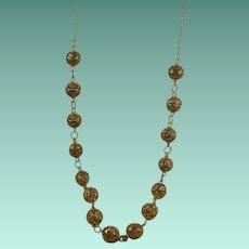 Vintage Gold Over 800 Silver Filigree Necklace