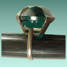 Very Large Emerald Glass Sterling Ring~ 5 1/2