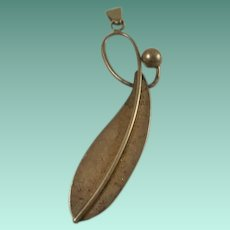 Large Sterling Artist Marked Leaf or Feather Pendant